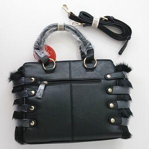NWT Vieta Faux Leather Fur Black Crossbody Bag